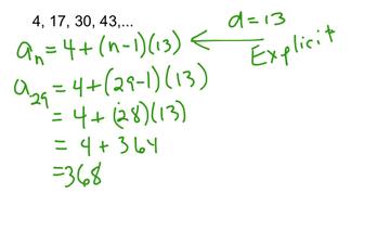 Arithmetic Sequences - Explicit Formula