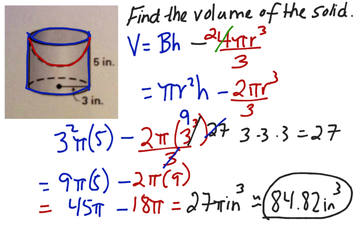 Section 12.6 Volume Of Composite Solid; Cylinder And Hemisphere