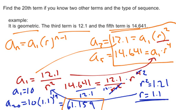 Find the nth term given two other terms