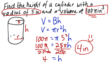 Section 12 Find Height Given Volume Of Cylinder