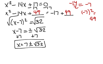 Solving A Quadratic Equation By Completing The Square (a = 1, B Is Even)