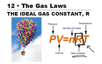 evaluation of the gas law constant The ideal gas law is represented as pv=nrt, where r represents the gas law constant to determine r, we must find the other parameters, p, v, n and t through the experiment equipment and materials.